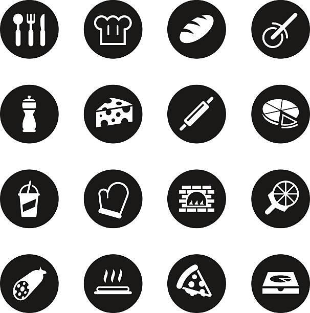 pizza icons - black circle series - delis stock illustrations