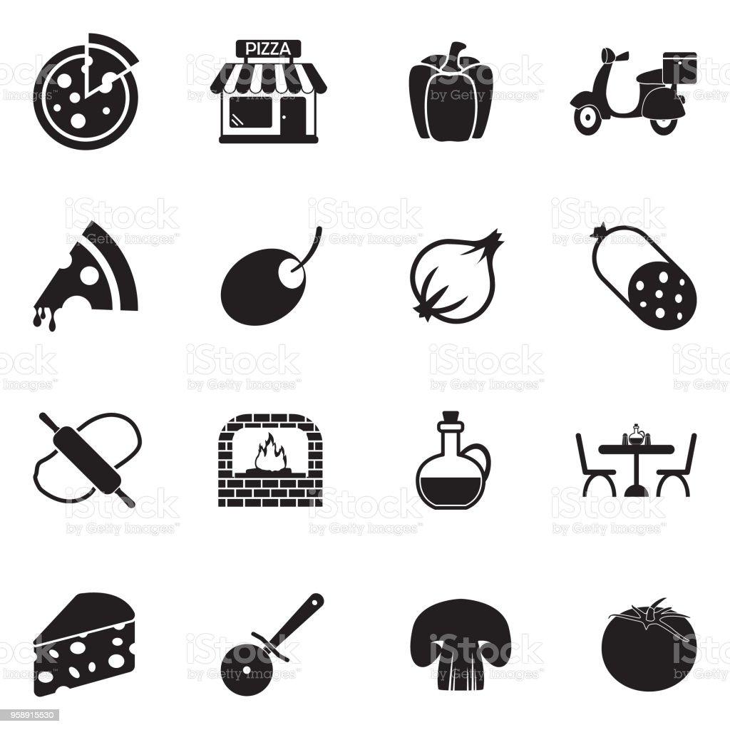 Pizza Icons. Black Flat Design. Vector Illustration. vector art illustration