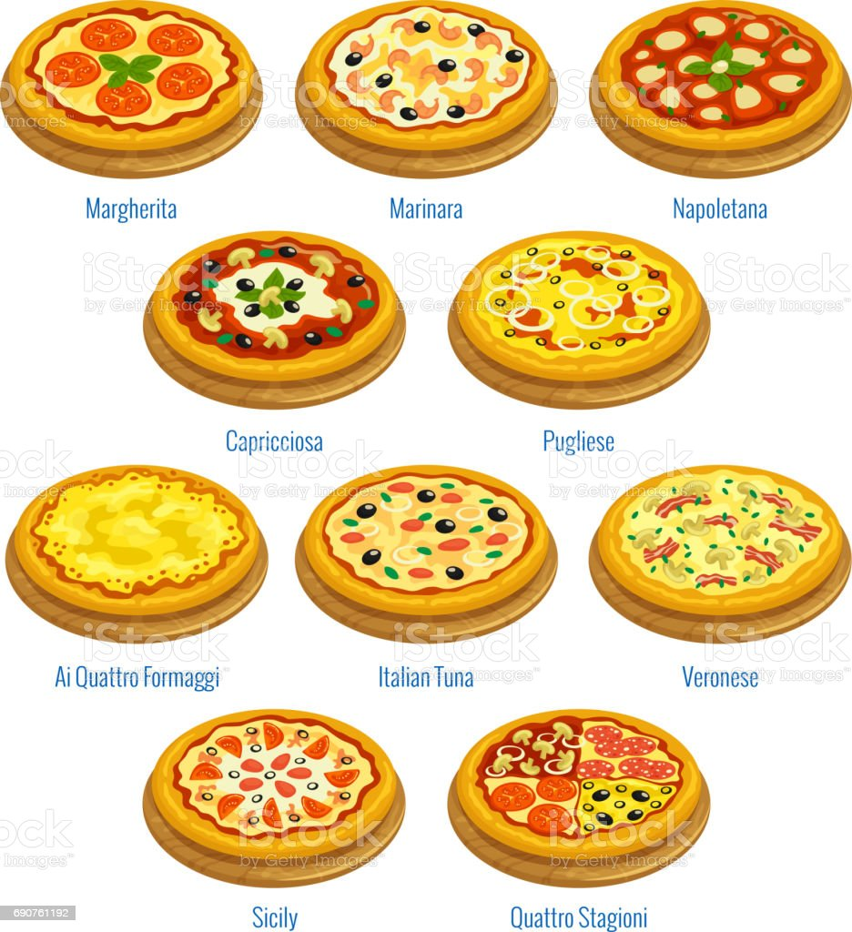 Pizza icons. Italian cuisine menu elements vector art illustration