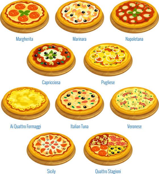 pizza icons. italian cuisine menu elements - sicily stock illustrations