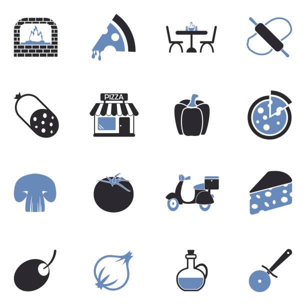 illustrazioni stock, clip art, cartoni animati e icone di tendenza di pizza icons. two tone flat design. vector illustration. - mortadella