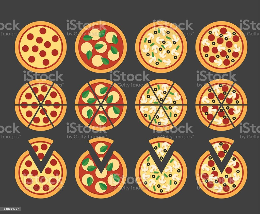 Pizza icons vector art illustration