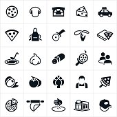 Pizza icons, specifically as they relate to pizza restaurants. The icons include pizza, pizza stove, cheese, mushrooms, delivery, pizza cutter, pizza making, pizza box, dining, customers, olives, tomatoes, artichoke, worker, employee, pizza dough, restaurant, and delivery man to name a few.