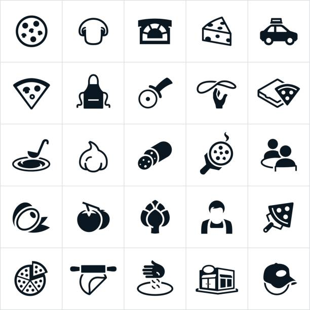 Pizza Icons Pizza icons, specifically as they relate to pizza restaurants. The icons include pizza, pizza stove, cheese, mushrooms, delivery, pizza cutter, pizza making, pizza box, dining, customers, olives, tomatoes, artichoke, worker, employee, pizza dough, restaurant, and delivery man to name a few. mozzarella stock illustrations