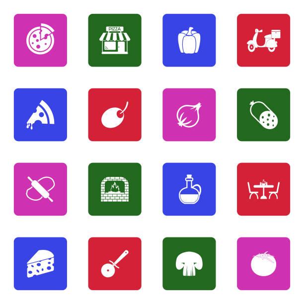 illustrazioni stock, clip art, cartoni animati e icone di tendenza di pizza icons. white flat design in square. vector illustration. - mortadella