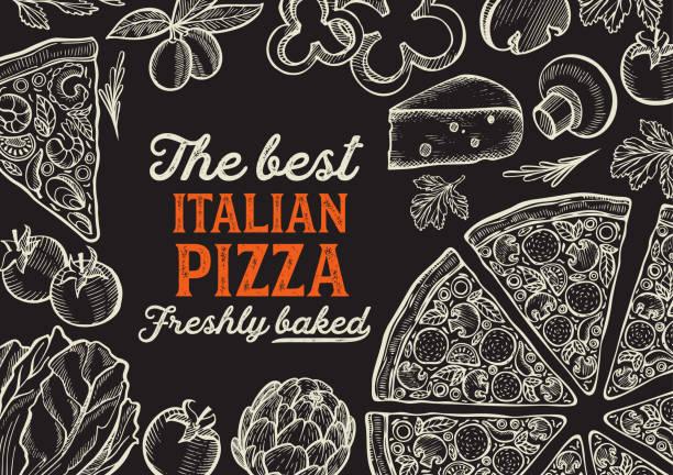 illustrations, cliparts, dessins animés et icônes de illustration de pizza pour le restaurant de cuisine italienne. - pizza