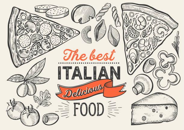 ilustraciones, imágenes clip art, dibujos animados e iconos de stock de ilustración de pizza para restaurante sobre fondo vintage. vector dibujado a mano para café de comida y camión de cocina italiana. diseño con letras y garabatos de verduras gráficas. - pizza