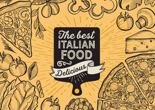 ヴィンテージの背景にレストランのピザのイラスト。フードカフェとイタリア料理のトラックのためのベクトル手描きのポスター.レタリングと落書きグラフィック野菜でデザイン。 - ランチョンマット点のイラスト素材/クリップアート素材/マンガ素材/アイコン素材