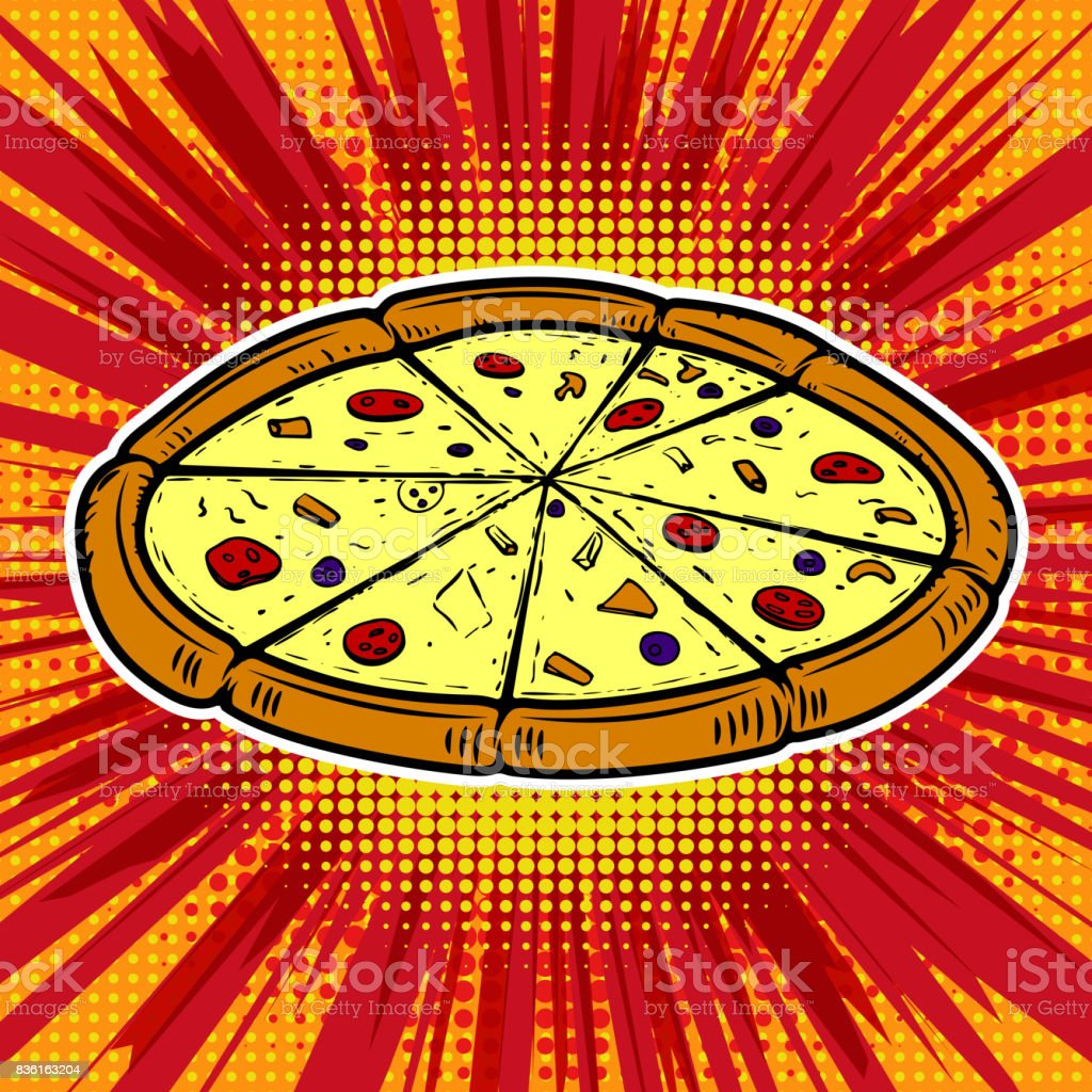 Pizza Illustration On Pop Art Background Design Element For Poster Menu Royalty