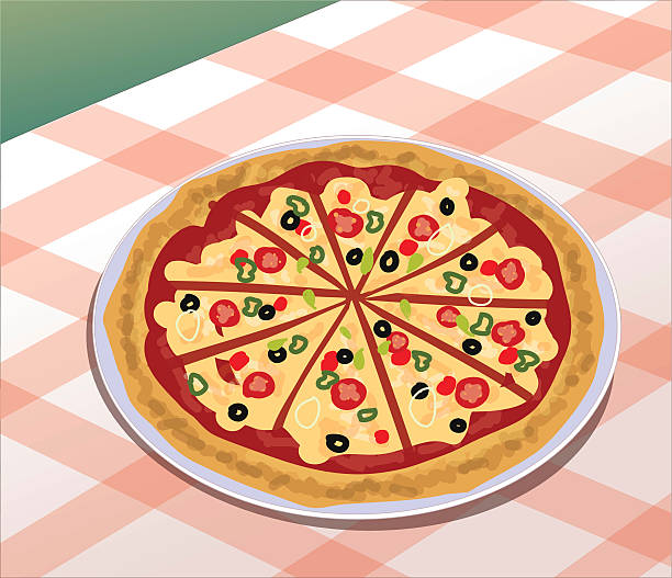 Pizza - Illustration Bright and Colourful illustration of a tasty pizza! mexican restaurant stock illustrations