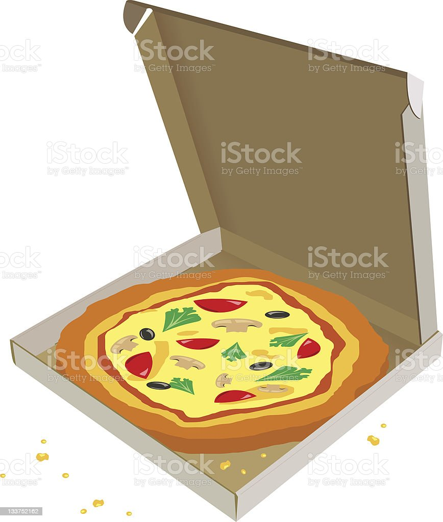 Pizza in a cardboard box royalty-free stock vector art