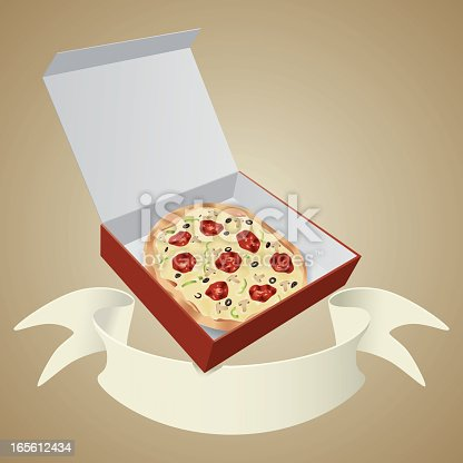 istock Pizza in cardboard box with banner 165612434