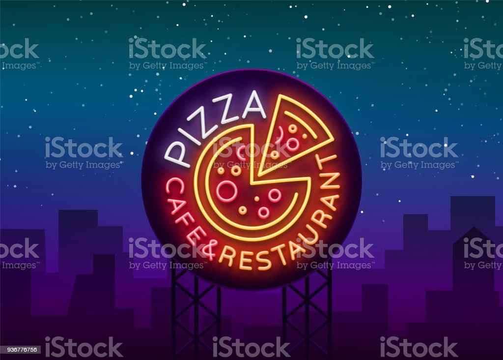Pizza Dans Un Style Neon Enseigne Au Neon Embleme Sur La Cuisine