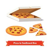 Pizza in the opened cardboard box. Delivery