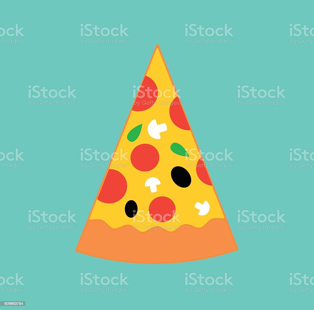Pizza ingredients food flat icon vector art illustration
