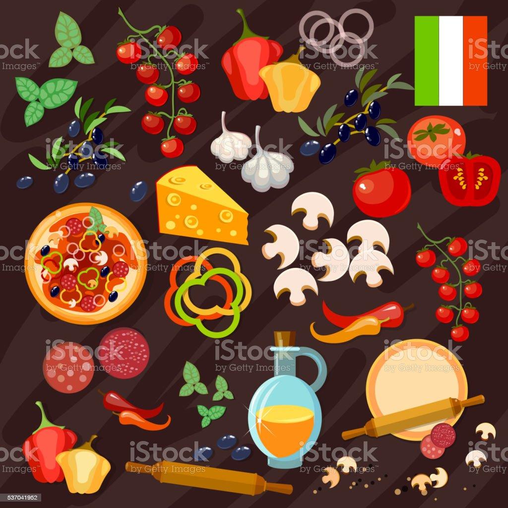 Pizza ingredients italian pizza collection vector art illustration