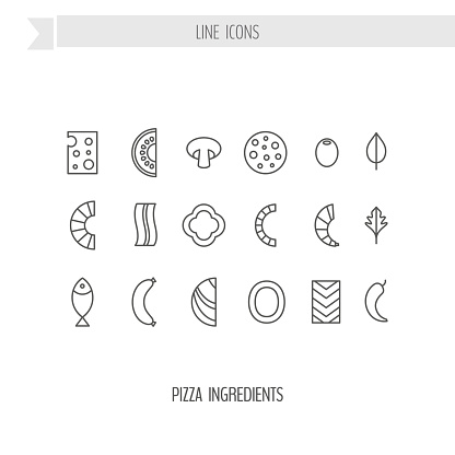 Pizza Ingredients Line Icon Set Stock Illustration
