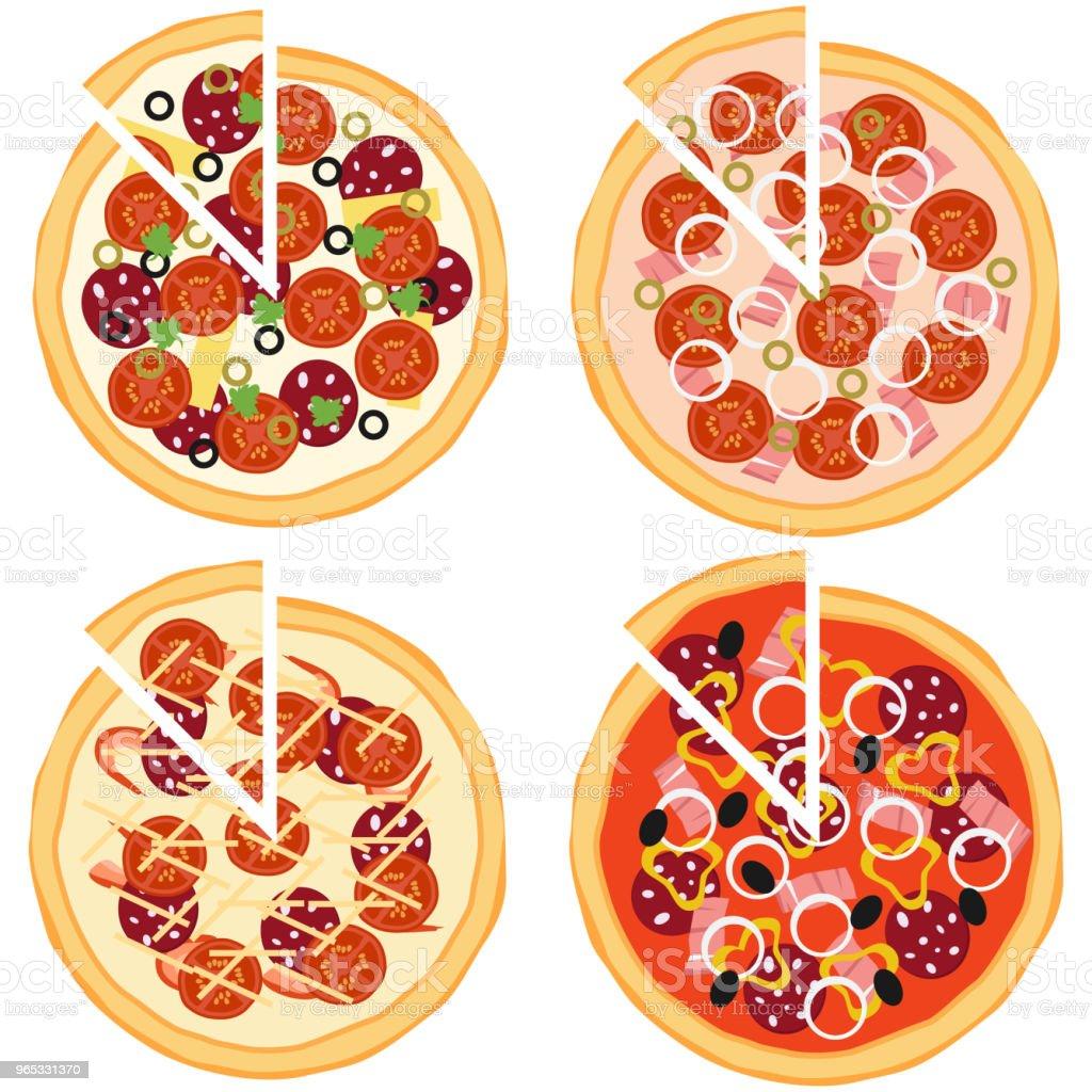 Pizza, ingrédients de pizza. - clipart vectoriel de Aliment libre de droits