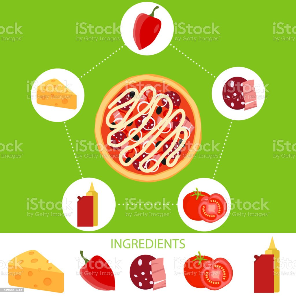 Pizza, ingredients of pizza. royalty-free pizza ingredients of pizza stock vector art & more images of apple - fruit