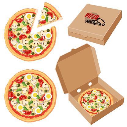 Pizza inside a Cardbox Clip art
