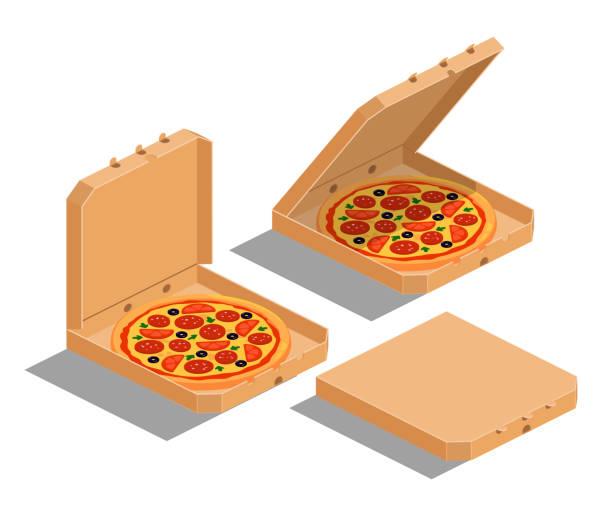 ilustraciones, imágenes clip art, dibujos animados e iconos de stock de pizza isométrica - pizza