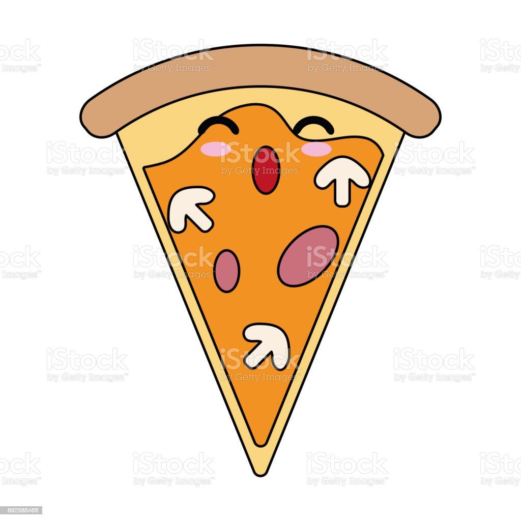 Pizza Italienisches Essen Süß Kawaii Cartoon Stock Vektor