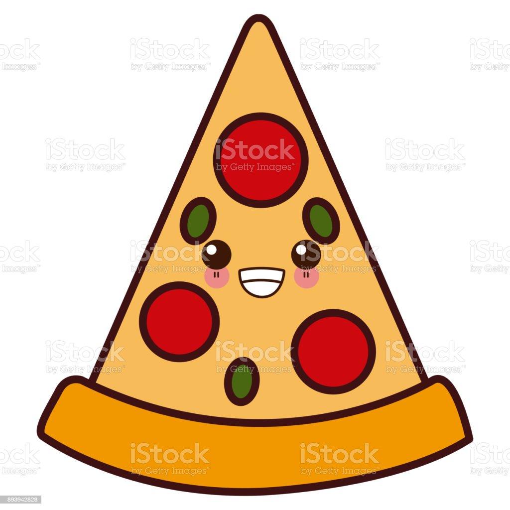 Ilustración De Pizza Comida Italiana Símbolo Kawaii Cute Dibujos