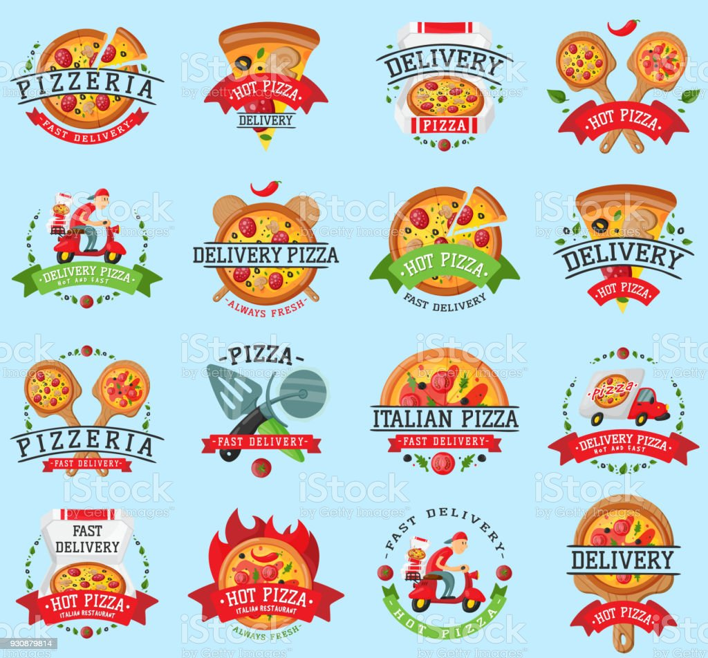 Pizza Italian Restaurant Vector Logo Badge Icons Set Illustration Food And Drink Pizzeria Elements Typographic Design Label Or Sticker Bakery Cooking Menu Symbol With Traditional Pizza Ingredients Stock Illustration Download Image