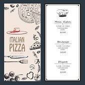 Pizza Italian with raw material drawing food design menu flyer