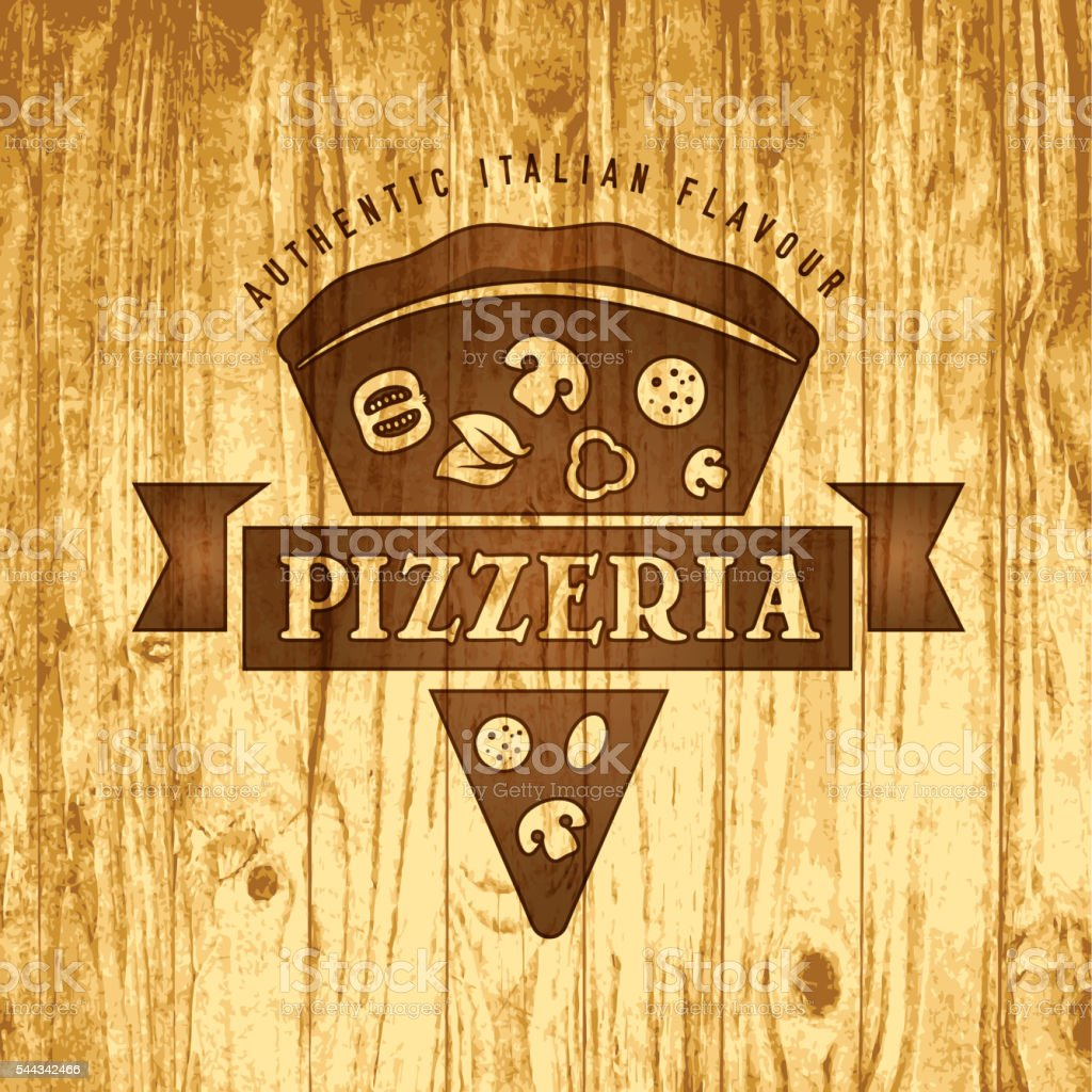 Vector pizza design elements template of label for pizzeria. On...