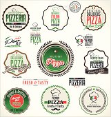 Pizza labels and badges