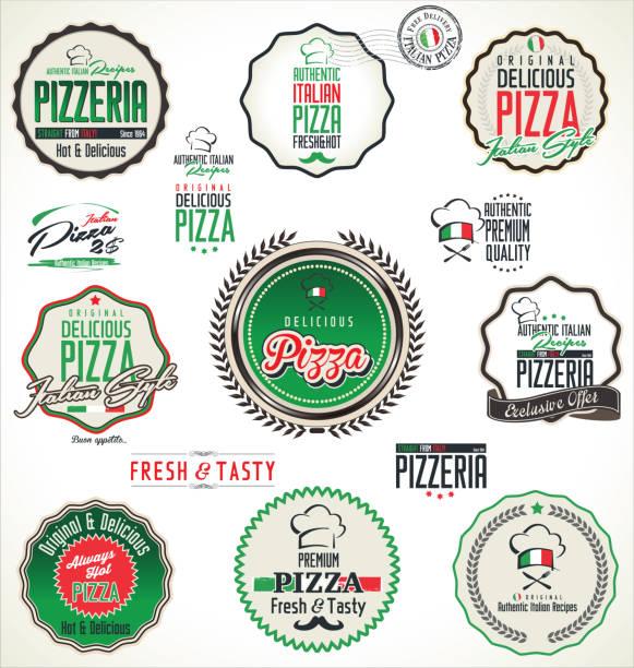 pizza-etiketten - pizzeria stock-grafiken, -clipart, -cartoons und -symbole