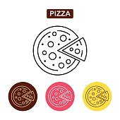 Pizza icon fast food icon. Traditional Italian food sign. Bakery products image. Outline vector illustration. Trendy vector Illustration isolated for graphic web design, for confectionery shop or cafe