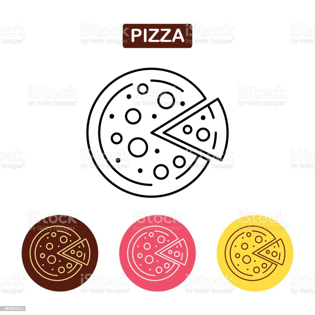 Pizza line icon, fast food outline vector icon. vector art illustration
