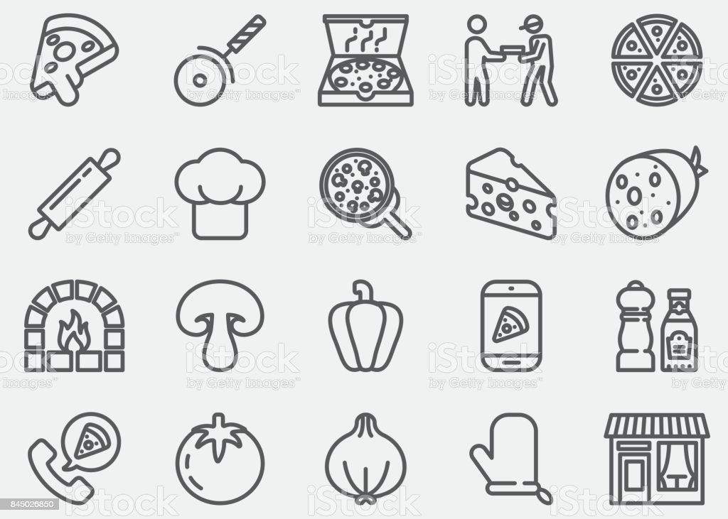 Pizza Line Icons vector art illustration