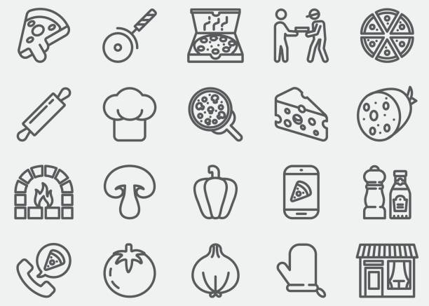 stockillustraties, clipart, cartoons en iconen met pizza lijn pictogrammen - deegrol