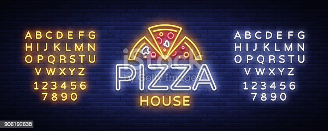 Pizza logo emblem neon sign. neon style, bright neon sign with Italian food promotion, pizzeria, snack, cafe, bar, restaurant. Pizza delivery. Vector illustration. Editing text neon sign.