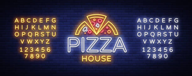 Pizza logo emblem neon sign. neon style, bright neon sign with Italian food promotion, pizzeria, snack, cafe, bar, restaurant. Pizza delivery. Vector illustration. Editing text neon sign vector art illustration