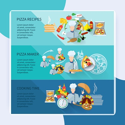 Pizza maker flat horizontal banner set with recipes cooking time isolated vector