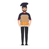Pizza maker holds pizza vector illustration isolated on white background, chef in jacket