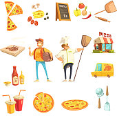 Pizza making decorative icons set with chef courier restaurant menu and pizza ingredients flat vector illustration