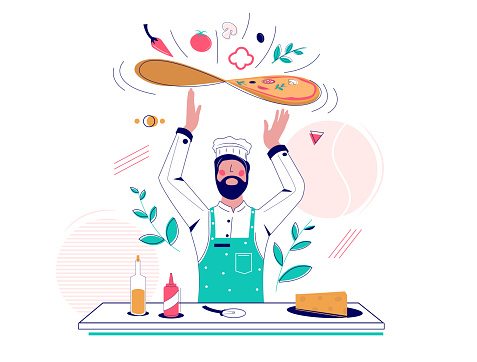 Pizza making vector concept for web banner, website page