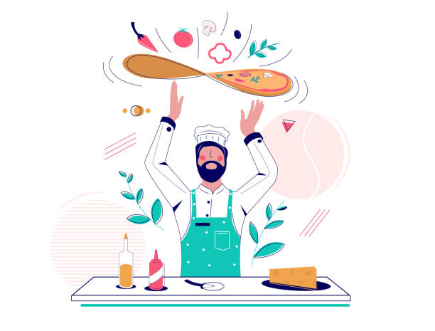 illustrazioni stock, clip art, cartoni animati e icone di tendenza di pizza making vector concept for web banner, website page - impastare