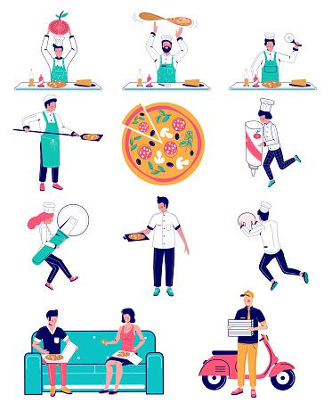 Pizza making, vector flat style design illustration