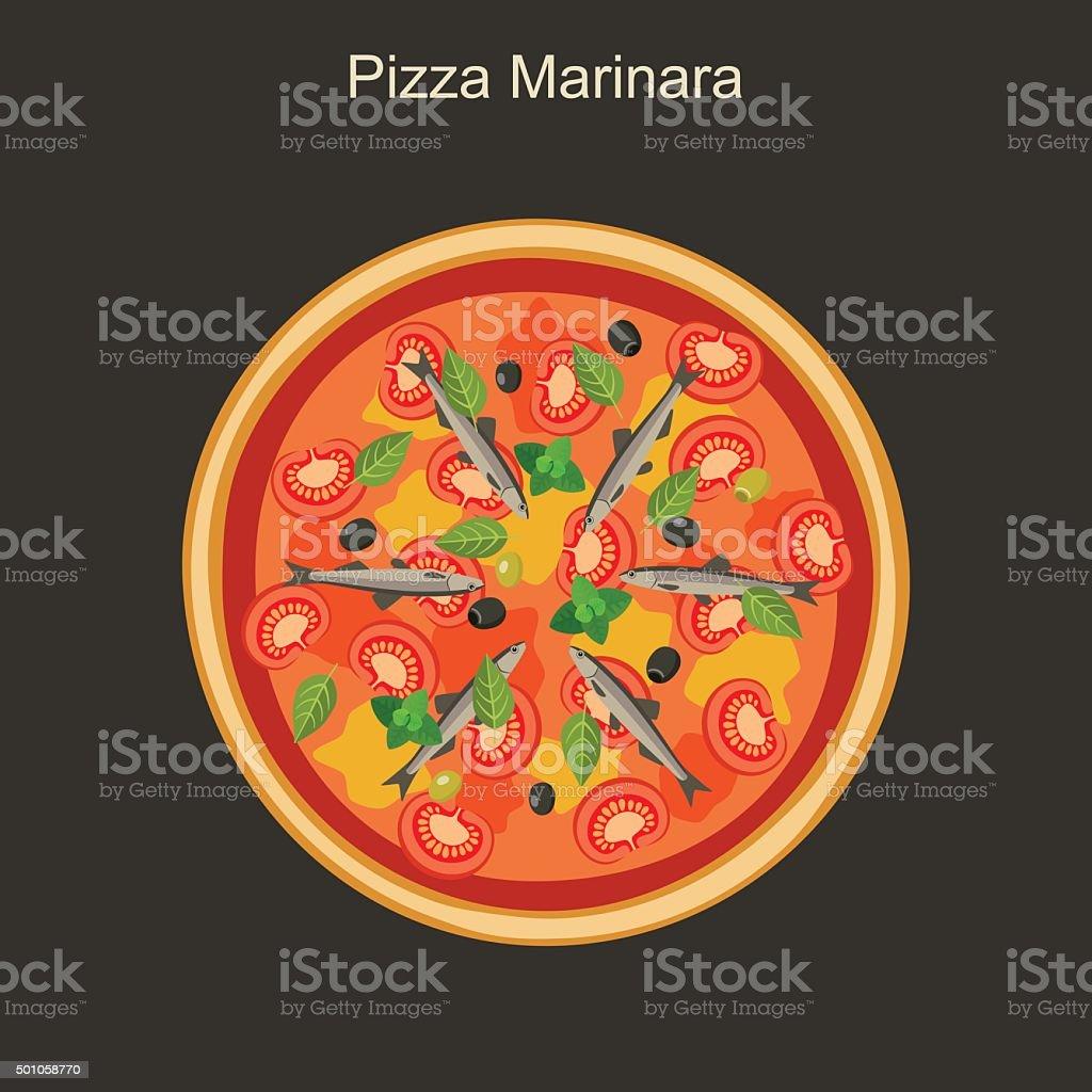 Pizza marinara con cantábrico. - ilustración de arte vectorial