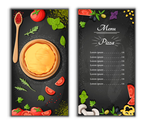 pizza menü tafel cartoon hintergrund mit frischen zutaten vector illustration pizzeria flyer vektor hintergrund. zwei vertikale banner mit zutaten text auf hölzernen hintergrund und blackboard - pizzeria stock-grafiken, -clipart, -cartoons und -symbole