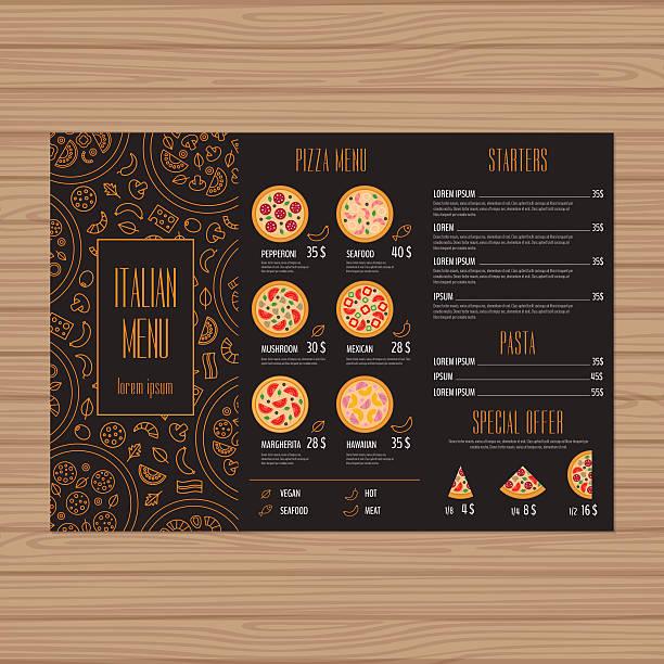 pizza menu design. - pizzeria stock-grafiken, -clipart, -cartoons und -symbole