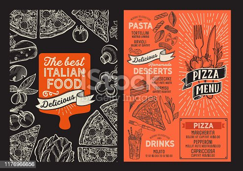 istock Pizza menu food template for restaurant with doodle hand-drawn graphic. 1176966656