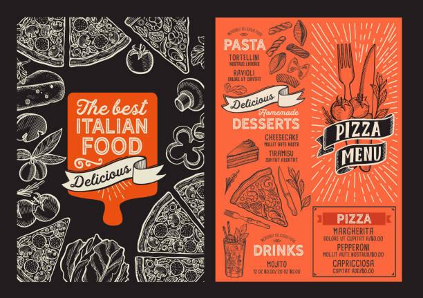 落書き手描きのグラフィックとレストランのためのピザメニュー食品テンプレート。 - ランチョンマット点のイラスト素材/クリップアート素材/マンガ素材/アイコン素材