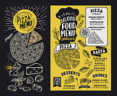 Pizza menu template for restaurant on a blackboard background vector illustration brochure for food and drink cafe. Design layout with vintage lettering and doodle hand-drawn graphic.